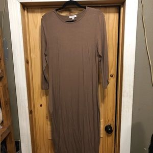 DARLING brand long taupe dress with sleeves